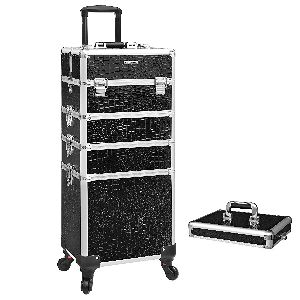 SONGMICS Trolley- 4 in 1 Kosmetikkoffer- Make-up Koffer mit Rollen-opt